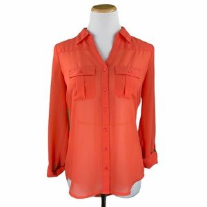 Maurices Sheer Roll Sleeve Button Down Shirt